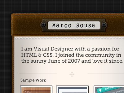 Personal Website vcard portfolio leather stitching notebook paper textures