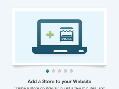 Slider - Add a Store icon illustration wepay slider shadow bullets steps store e-commerce