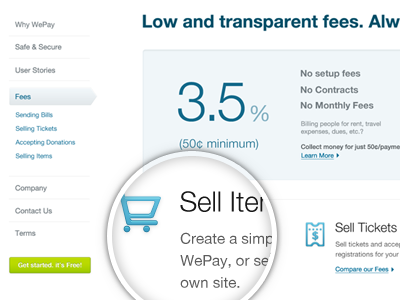 WePay Fees wepay layout ui ux navigation sidebar fees money percentage numbers website