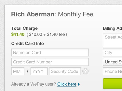 Wepay Checkout ux input wepay checkout credit card payment charge total form iframe ui