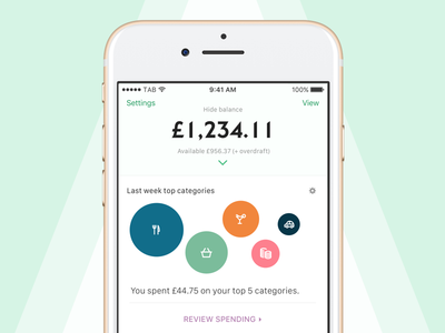 Valo (Concept for Yolt) ux ui app finance categories interface concept iphone ios money banking fintech