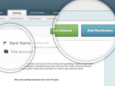Web App Details buttons tabs wealthbird app web app bank pig