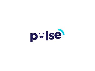 Pulse logomark cut dead smiley smile branding logo illustration