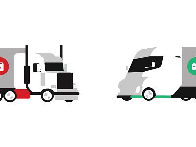 Diesel vs EVs fleet icon electric electric vehicle ev truck trailer tractor trailer semi truck