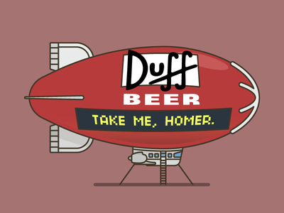 Duff Beer Blimp illustration aviation blimp beer simpsons duff
