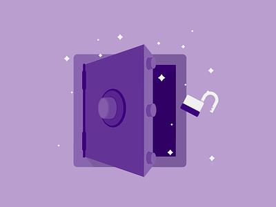 Safe sparkle lock icon illustration