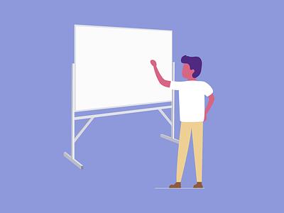 Lefty character teach whiteboard dude guy man illustration