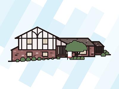 MCT (Mid-Century Tudor) summer illustration thick lines modern mcm tudor home house