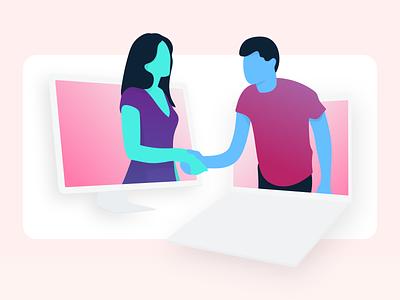 Put'er There, Partner product software people character dimension handshake website web partner illustrator saas ai