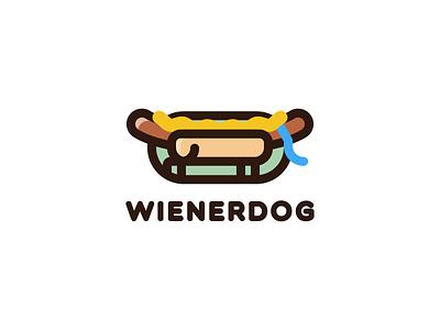 Wienerdog thicklines round label woof logo mark pet weiner branding animal line art rebound