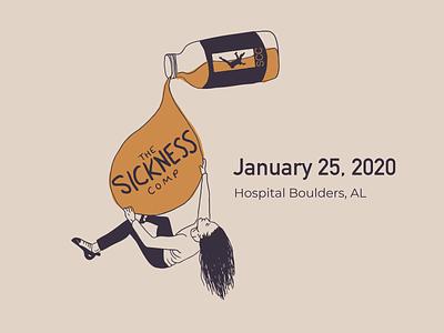 The Sickness Comp 2020 climbing illustration logo