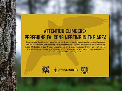 Falcon Nesting Warning warning print design falcon signage