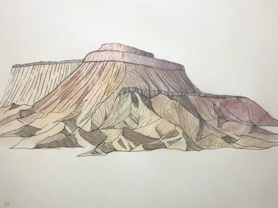 Grand Mesa Illustration watercolor mountain illustraion