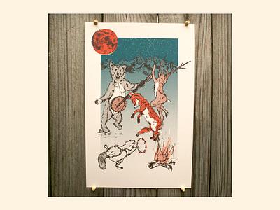 Animals in the Night animals print design illustration screenprint
