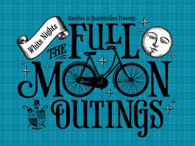 Full Moon Bike Ride moon bike illustration victorian phaeton typography plaid