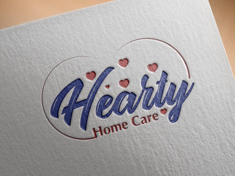 hearty home care logo illustrator lettering typography branding logo design