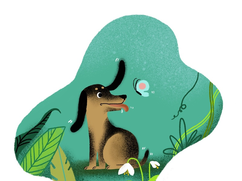 animals-dog web branding design illustration children art dog