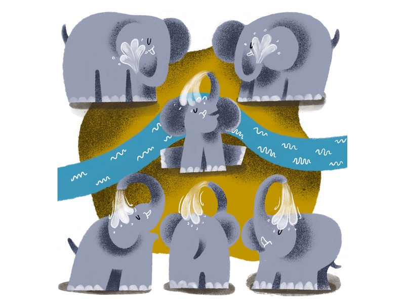 elephant children art animation ui animals illustrated illustration design branding