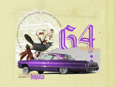 Chevy Impala 64. Collab with my friend Bruno Meira car type cholo lettering chevy impala illustration collage digital colagem digital graphic  design digital collage collage art design collage colagem