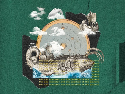 The sea monster and the position of the planet's illustration collage digital colagem digital graphic  design digital collage collage art design collage colagem