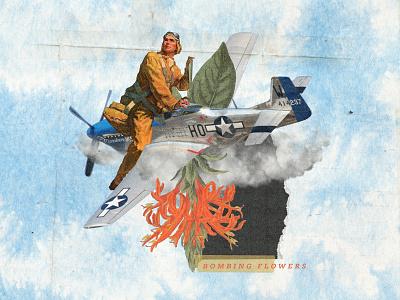 Bombing flowers 🌷 aircraft illustration collage digital colagem digital graphic  design digital collage collage art design collage colagem