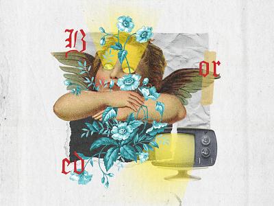 Bored days 🙄 angels type angel illustration collage digital colagem digital graphic  design digital collage collage art design collage colagem