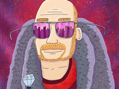 Hugh Wright portrait illustration portrait fur coat diamond sunglasses