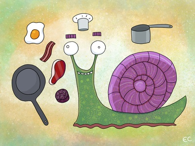 Snail Chef By Ed Clews gastropod chef food character animal snail illustration
