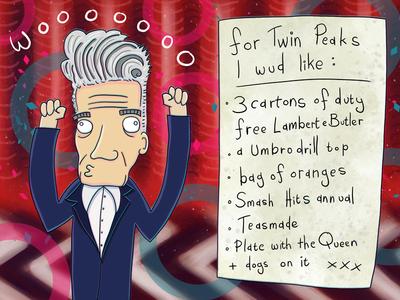 David Lynch's Negotiation Demand List For Twin Peaks 2016 photoshop twin peaks david lynch illustration