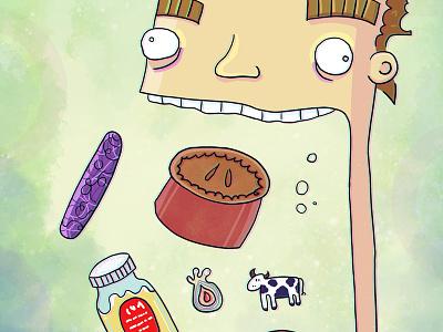 Post Run Snack Scoff food running nutrition eating illustration
