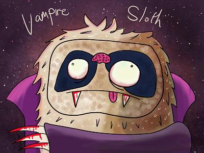 Vampire Sloth  photoshop illustration animal sloth