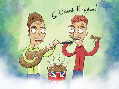 Set of six Eurovision illustrations competition tv music illustration eurovision