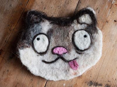Cat illustration in needlefelt form handmade illustration cat
