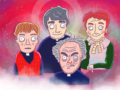 Father Ted Illustration By Ed Clews father ted channel4 tv illustration