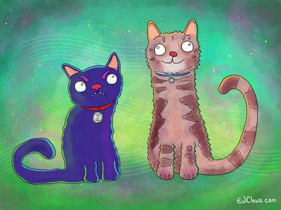 Two Cats illustration commission illustration animals cats
