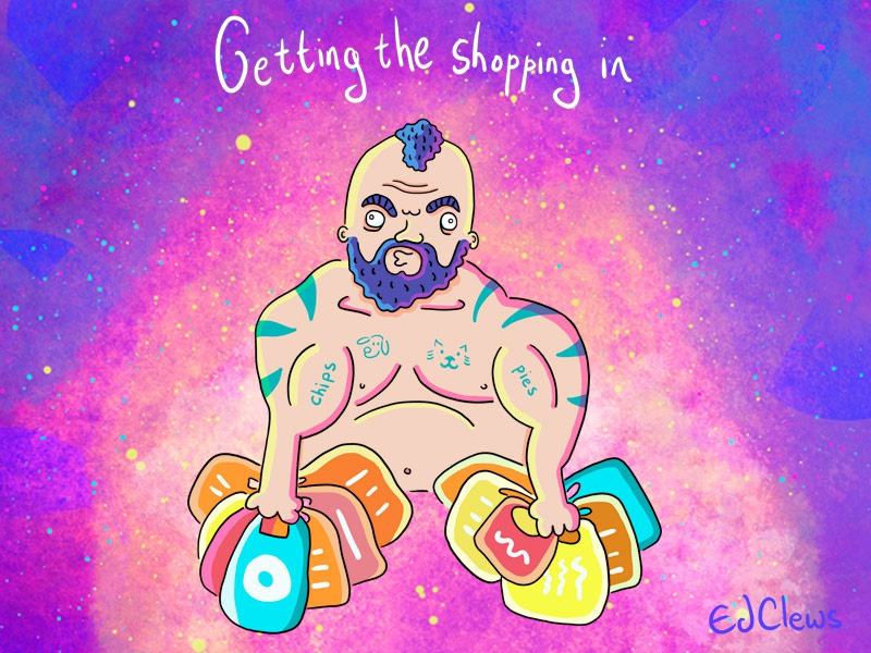 Getting The Shopping In illustration featuring WSM Eddie Hall worlds strongest man weights lifting illustration sports