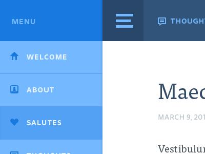 Jere Thoughts responsive menu navy blue tisa ui user interface blog thoughts friend website design ui design