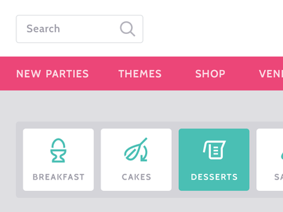 Party Recipes pink parties search cabin roboto slab google web fonts website select madebyyarn symbolset web design