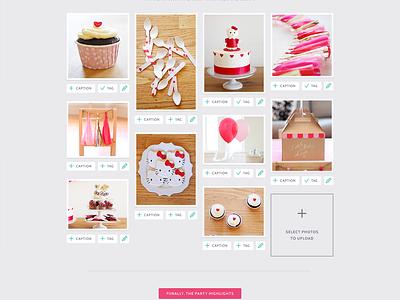 Party Photos photos cabin pink party web design ui design upload steps dutch icon roboto slab symbolset google webfonts