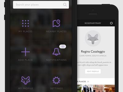 Mobile App design  icons icon menu profile fox app icon app iphone android gill sans didot italic purple