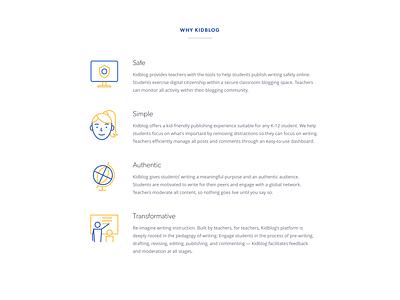 Kid blogging platform Icons icons illustrations blue yellow girl screen safe globe teacher blogging