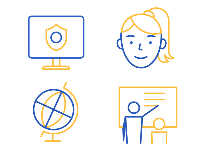 Kid blogging platform Icons icons illustrations blue yellow girl screen safe globe teacher blogging