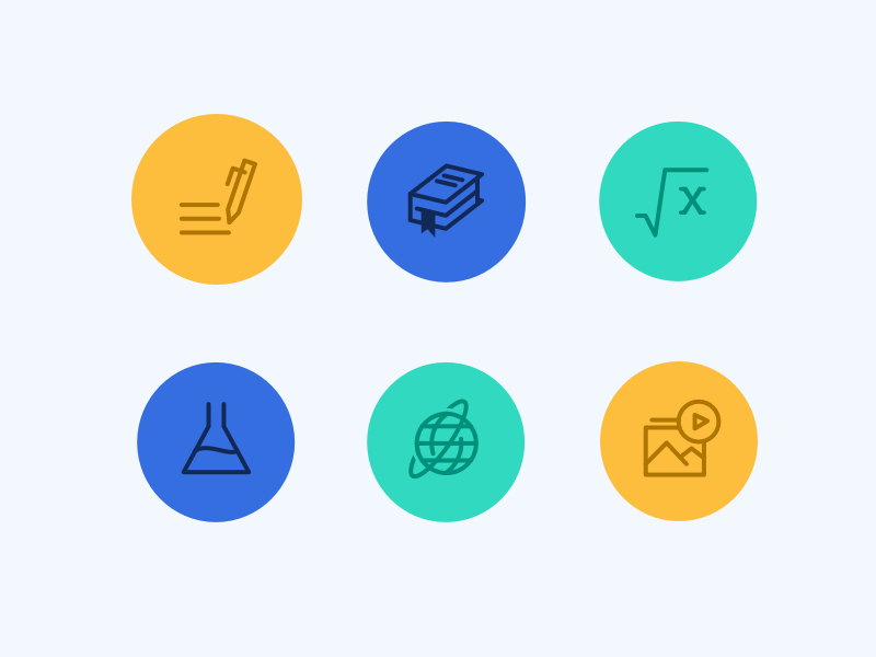 """How"" Icons icons how write book maths science globe media"