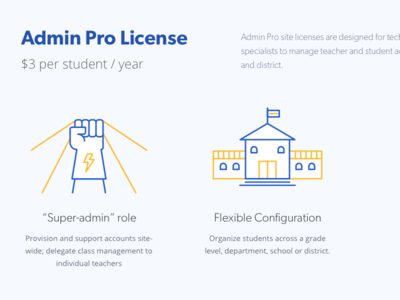 Admin Pro Plan gibson pricing yellow blue open sans hero school