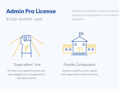 Admin Pro Plan gibson pricing yellow blue open sans hero school