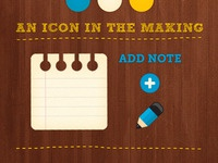 An {add note} icon in the making