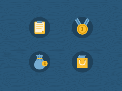 Icons icons navy flip-board medallion shopping bag bag of coins yellow website design ui design