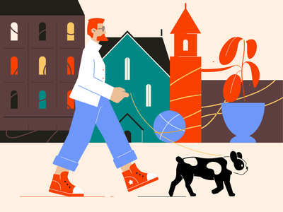 Walk with the dog glyph vector color shape simple icon illustration building city beard character person dog