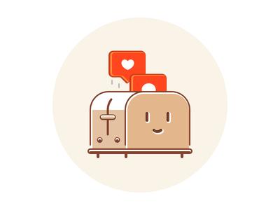 Toastegram simple comment like instagram toaster glyph ui logo shape icon illustration