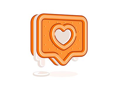 Sweet Like instagram like line color simple glyph notification logo shape icon illustration cookie